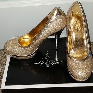 Baby Phat Gold Sparkling Heels